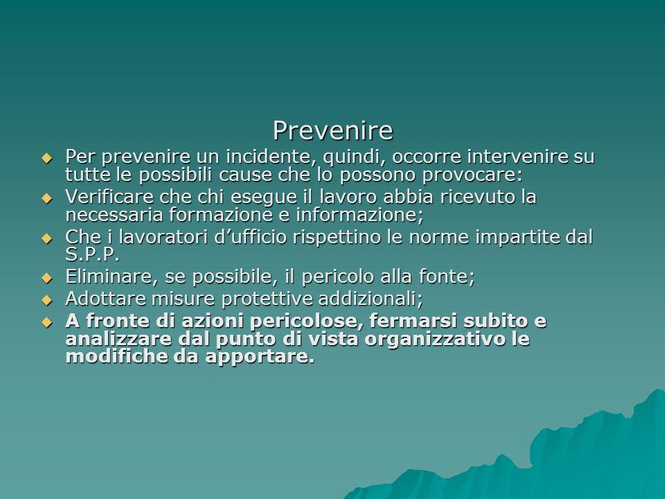 Prevenire Per prevenire un incidente, quindi, occorre intervenire su tutte le possibili cause che lo possono provocare: Per prevenire un incidente, qu