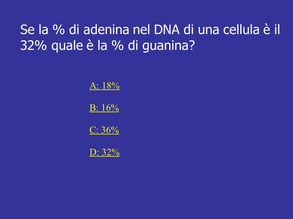 Risposta Esatta A: Poiché si ha sempre che: %A = %T e %G = %C E che %A + %T + %G + %C = 100% Nel caso proposto si ha: 32% + 32% + %G + %C = 100% Poiché %G = %C Si ha: %G = 100% – 64% = 18% 2