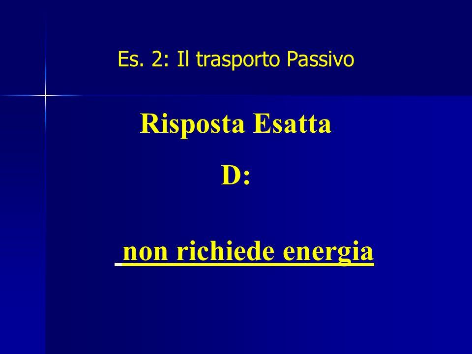Es. 2: Il trasporto Passivo Risposta Esatta D: non richiede energia