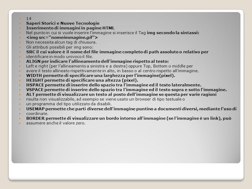 14 Saperi Storici e Nuove Tecnologie Inserimento di immagini in pagine HTML Nel punto in cui si vuole inserire limmagine si inserisce il Tag img secon