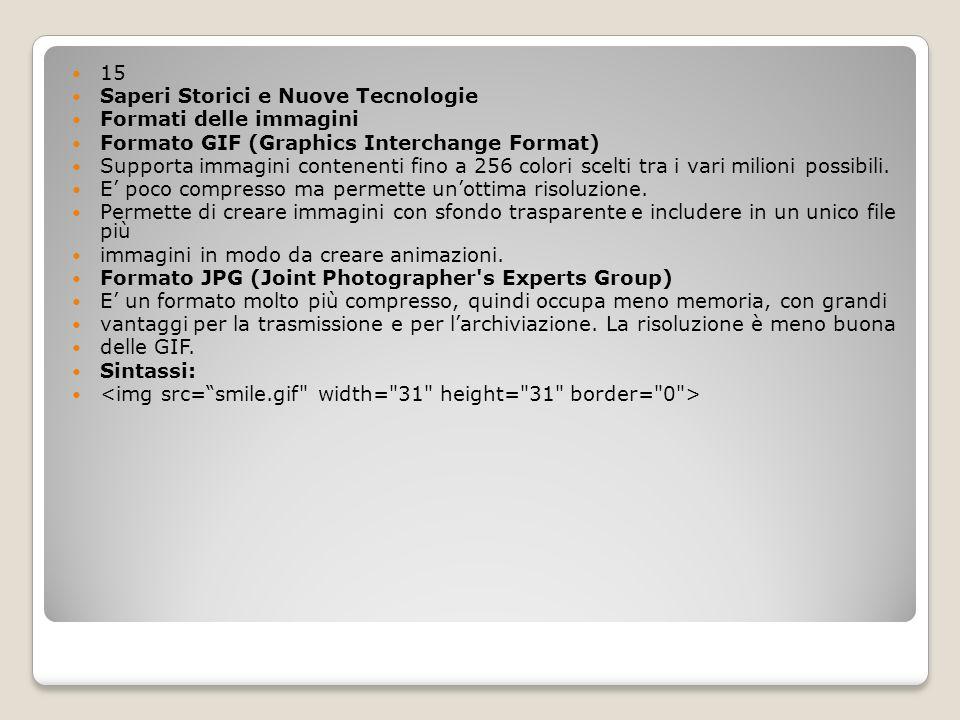 15 Saperi Storici e Nuove Tecnologie Formati delle immagini Formato GIF (Graphics Interchange Format) Supporta immagini contenenti fino a 256 colori s