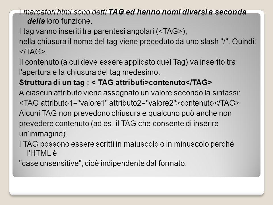 I marcatori html sono detti TAG ed hanno nomi diversi a seconda della loro funzione. I tag vanno inseriti tra parentesi angolari ( ), nella chiusura i