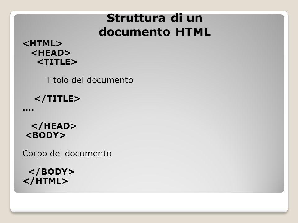 Titolo del documento …. Corpo del documento Struttura di un documento HTML
