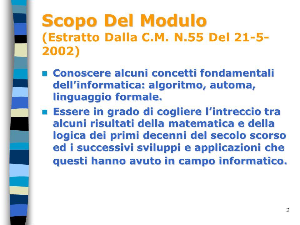 2 Scopo Del Modulo Scopo Del Modulo (Estratto Dalla C.M. N.55 Del 21-5- 2002) Conoscere alcuni concetti fondamentali dellinformatica: algoritmo, autom