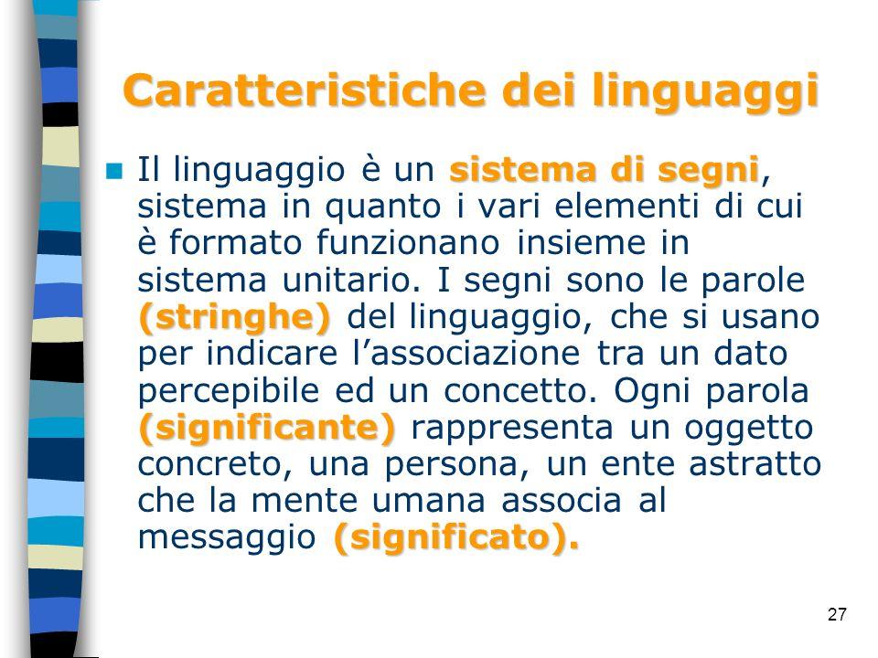 27 Caratteristiche dei linguaggi sistema di segni (stringhe) (significante) (significato). Il linguaggio è un sistema di segni, sistema in quanto i va