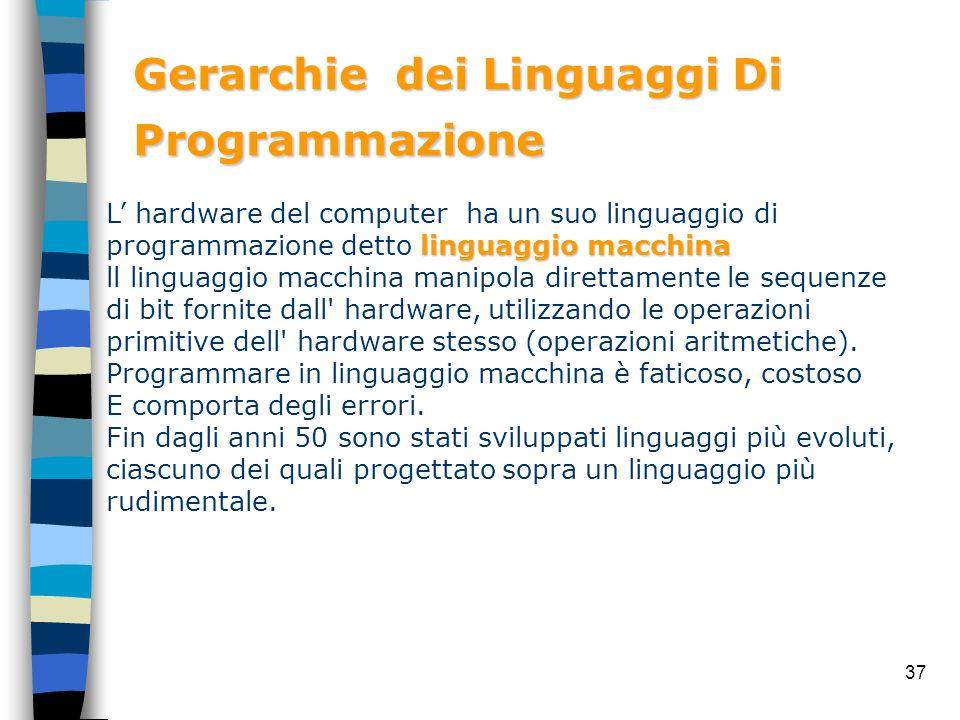 37 Gerarchie dei Linguaggi Di Programmazione linguaggio macchina L hardware del computer ha un suo linguaggio di programmazione detto linguaggio macch
