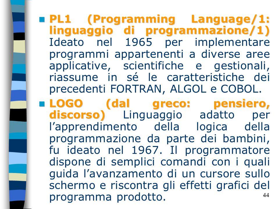 44 PL1 (Programming Language/1: linguaggio di programmazione/1) PL1 (Programming Language/1: linguaggio di programmazione/1) Ideato nel 1965 per imple