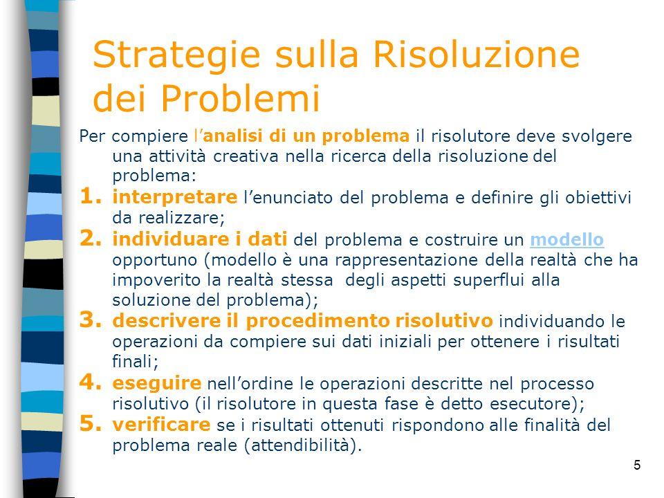 5 Strategie sulla Risoluzione dei Problemi Per compiere lanalisi di un problema il risolutore deve svolgere una attività creativa nella ricerca della