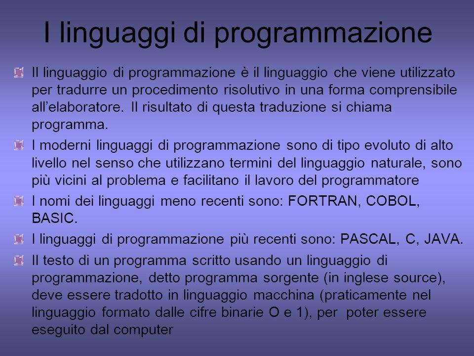 I linguaggi di programmazione Il linguaggio di programmazione è il linguaggio che viene utilizzato per tradurre un procedimento risolutivo in una form