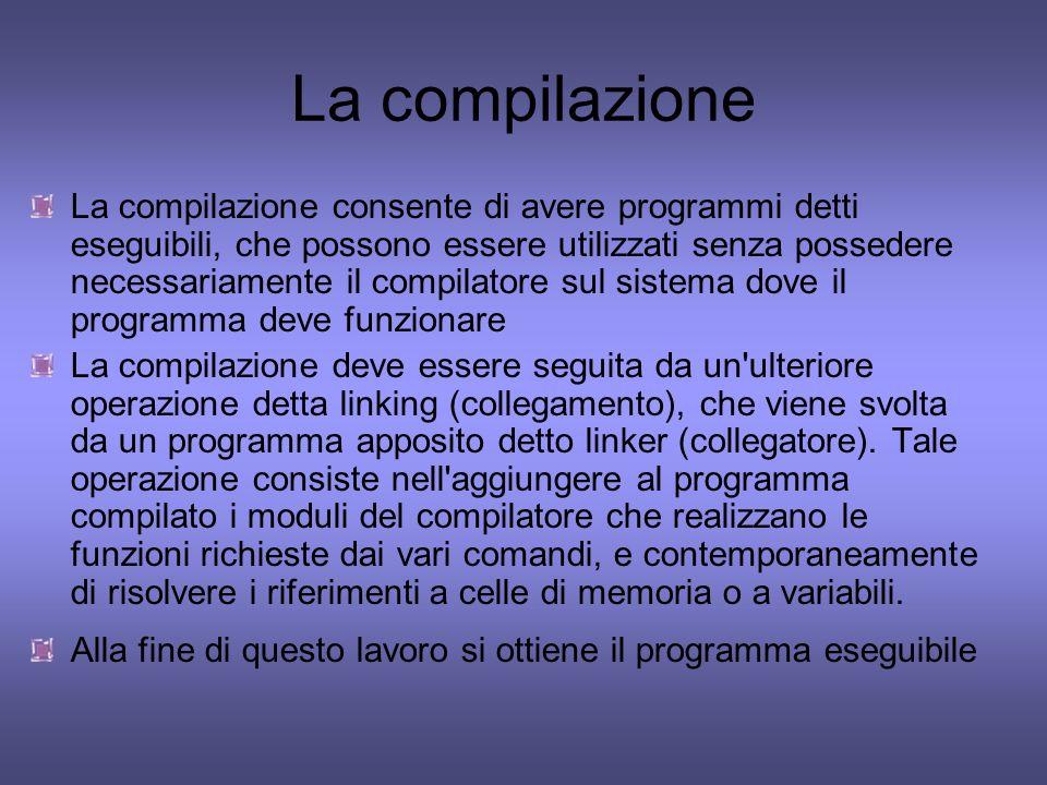 La compilazione La compilazione consente di avere programmi detti eseguibili, che possono essere utilizzati senza possedere necessariamente il compila