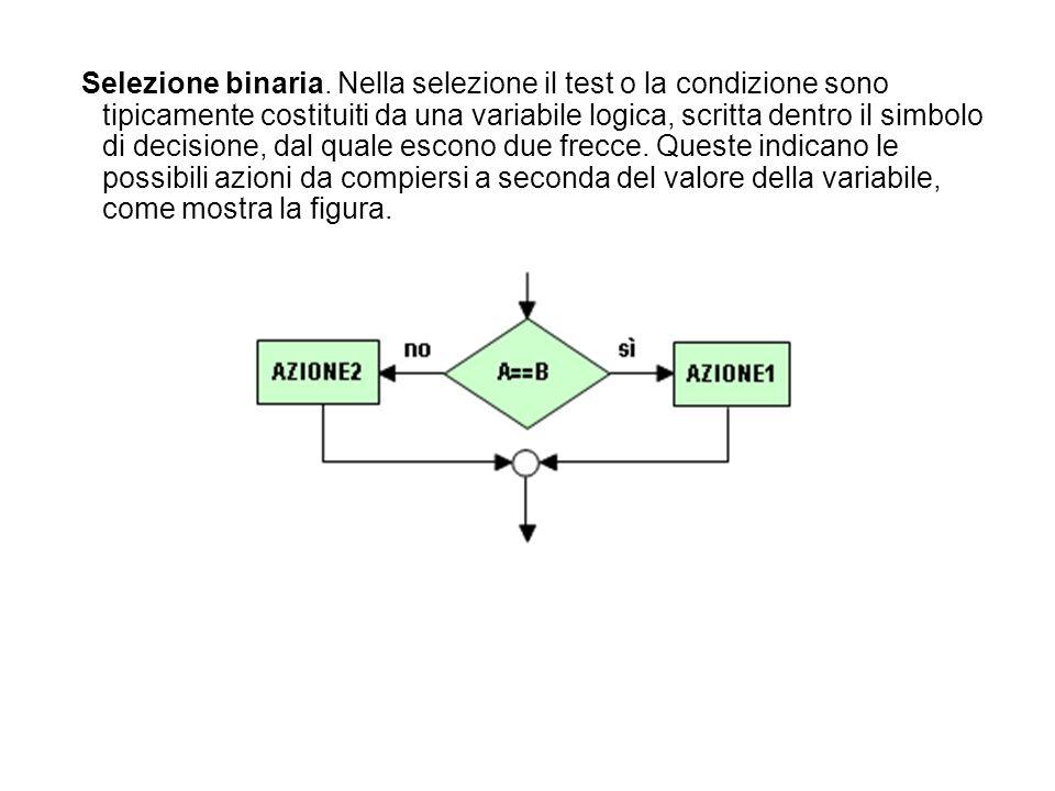 Selezione binaria. Nella selezione il test o la condizione sono tipicamente costituiti da una variabile logica, scritta dentro il simbolo di decisione