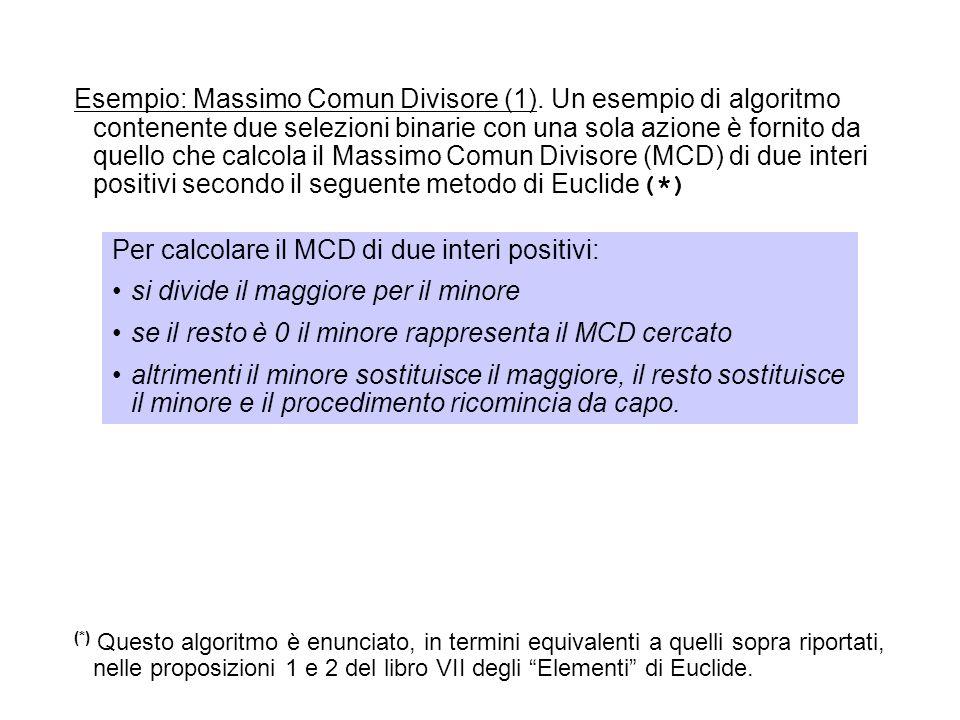 Esempio: Massimo Comun Divisore (1). Un esempio di algoritmo contenente due selezioni binarie con una sola azione è fornito da quello che calcola il M