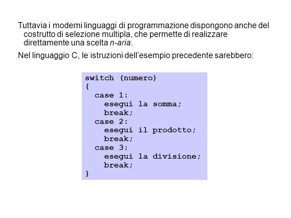 Tuttavia i moderni linguaggi di programmazione dispongono anche del costrutto di selezione multipla, che permette di realizzare direttamente una scelt