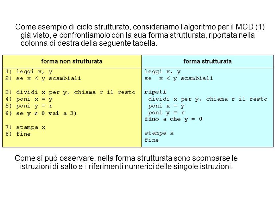 Come si può osservare, nella forma strutturata sono scomparse le istruzioni di salto e i riferimenti numerici delle singole istruzioni. Come esempio d