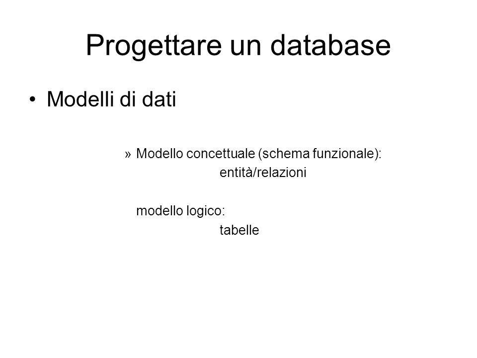 Progettare un database Modelli di dati »Modello concettuale (schema funzionale): entità/relazioni modello logico: tabelle