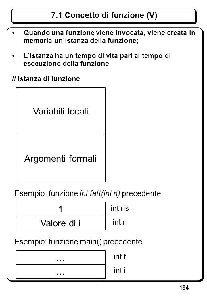 194 7.1 Concetto di funzione (V) Quando una funzione viene invocata, viene creata in memoria unistanza della funzione; Listanza ha un tempo di vita pa