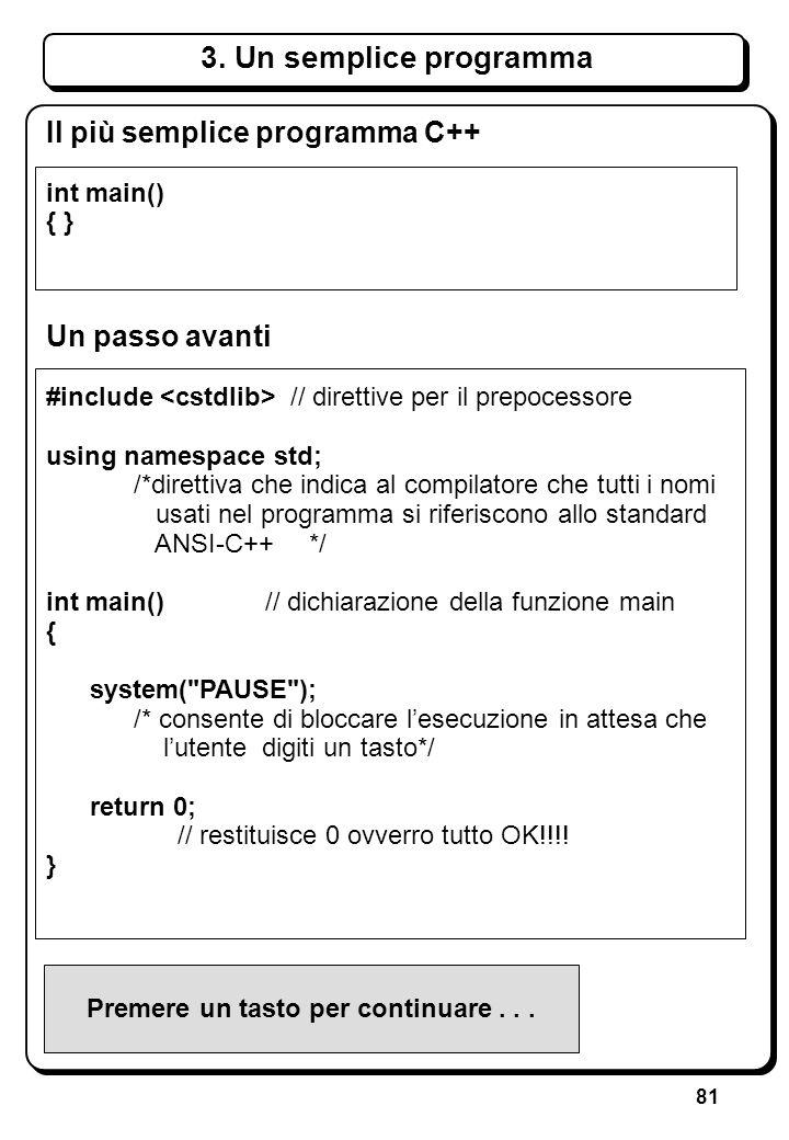 81 Il più semplice programma C++ int main() { } Un passo avanti #include // direttive per il prepocessore using namespace std; /*direttiva che indica