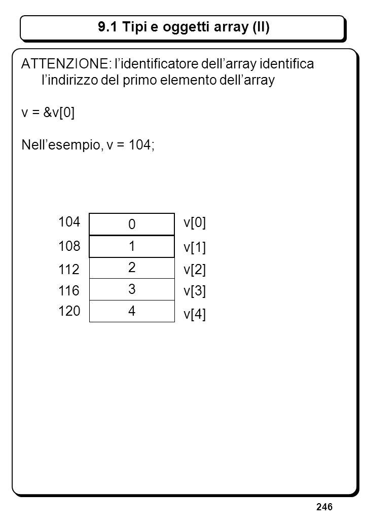 246 9.1 Tipi e oggetti array (II) 0 1 2 3 4 104 108 112 116 120 v[4] v[3] v[1] v[0] v[2] ATTENZIONE: lidentificatore dellarray identifica lindirizzo d
