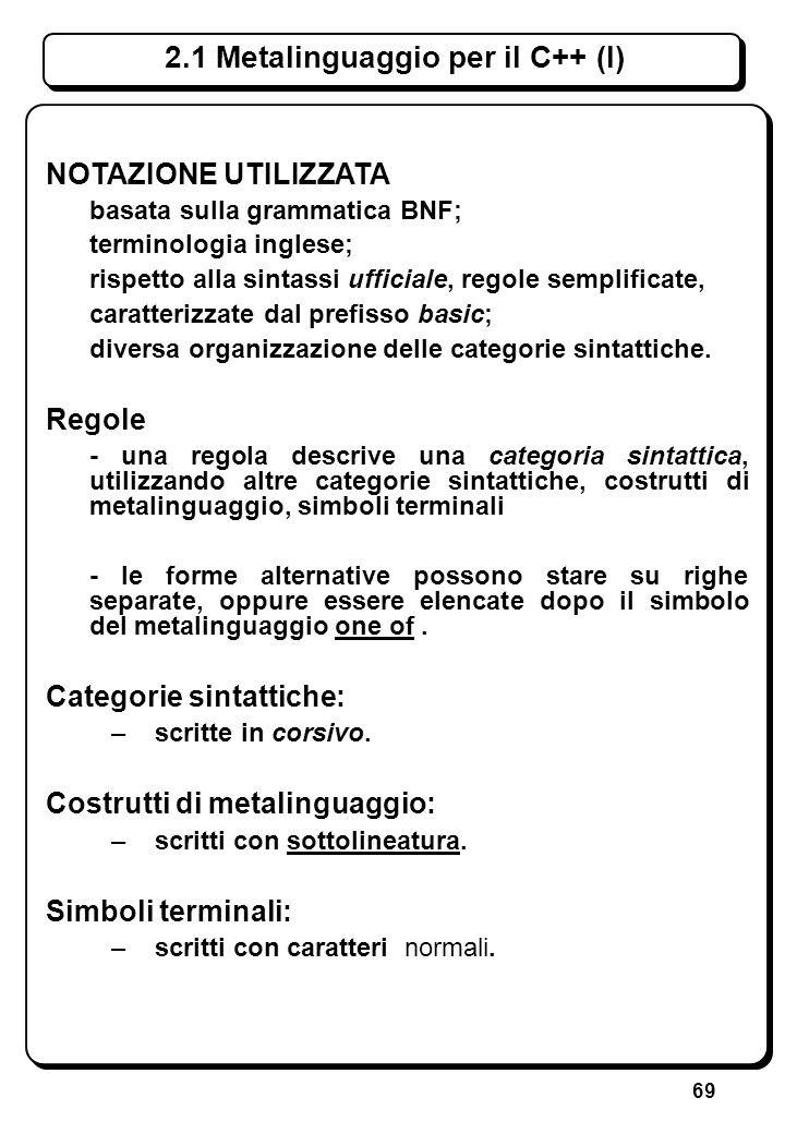 69 NOTAZIONE UTILIZZATA basata sulla grammatica BNF; terminologia inglese; rispetto alla sintassi ufficiale, regole semplificate, caratterizzate dal p