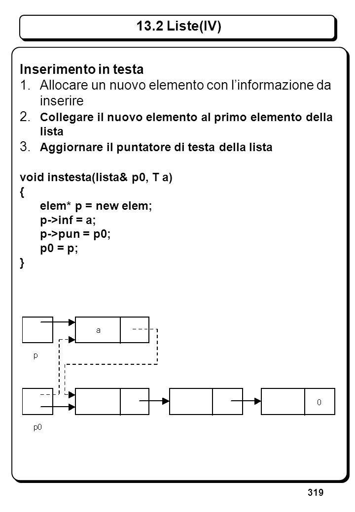 319 13.2 Liste(IV) Inserimento in testa 1. Allocare un nuovo elemento con linformazione da inserire 2. Collegare il nuovo elemento al primo elemento d