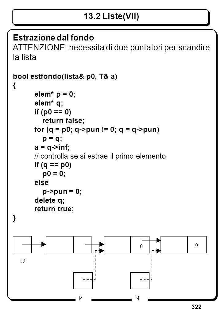 322 13.2 Liste(VII) Estrazione dal fondo ATTENZIONE: necessita di due puntatori per scandire la lista bool estfondo(lista& p0, T& a) { elem* p = 0; el
