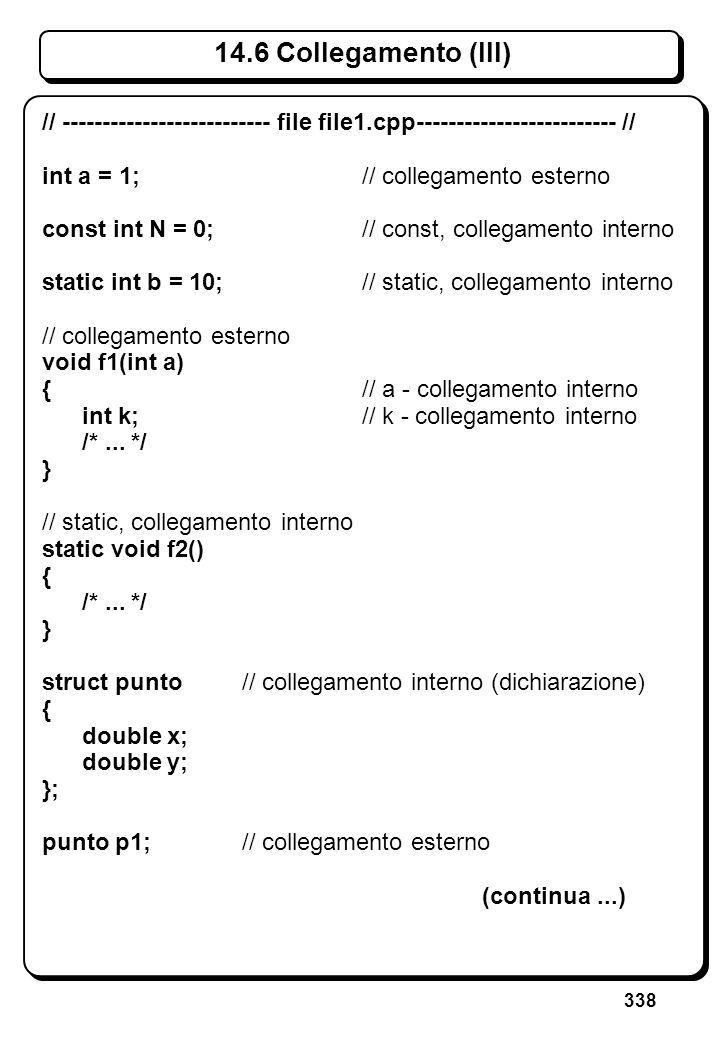 338 14.6 Collegamento (III) // -------------------------- file file1.cpp------------------------- // int a = 1;// collegamento esterno const int N = 0