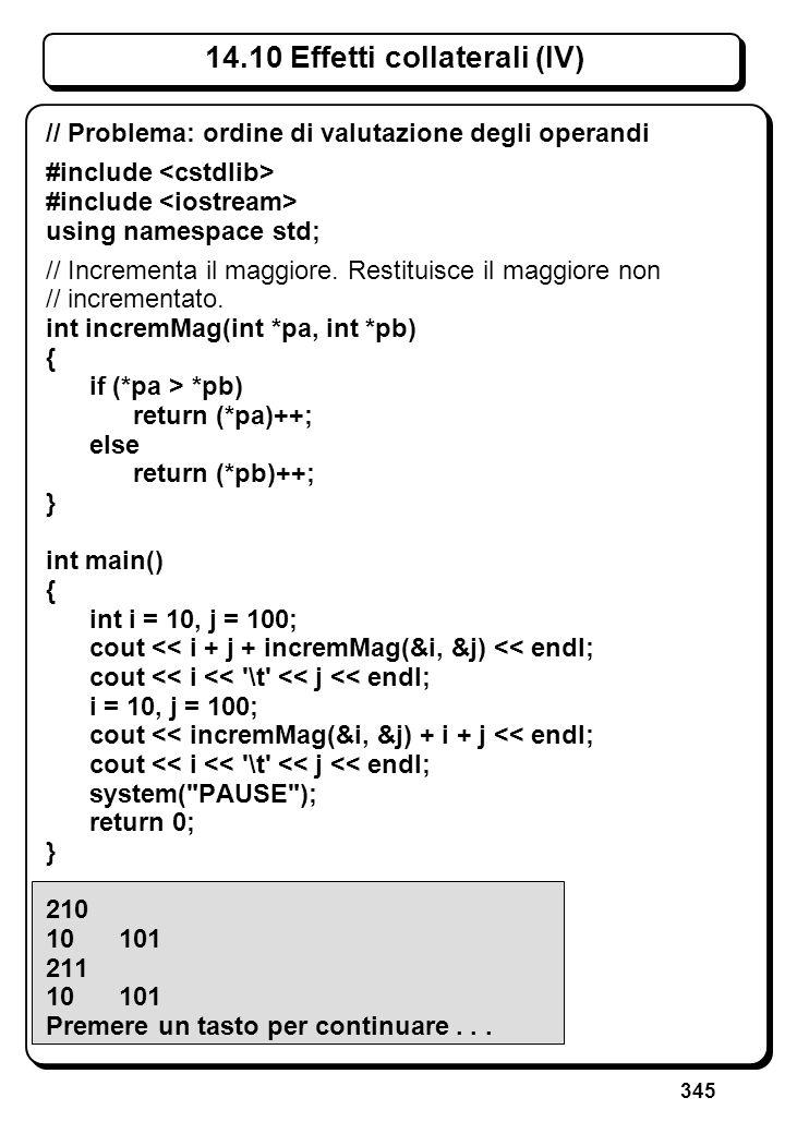 345 14.10 Effetti collaterali (IV) // Problema: ordine di valutazione degli operandi #include using namespace std; // Incrementa il maggiore. Restitui