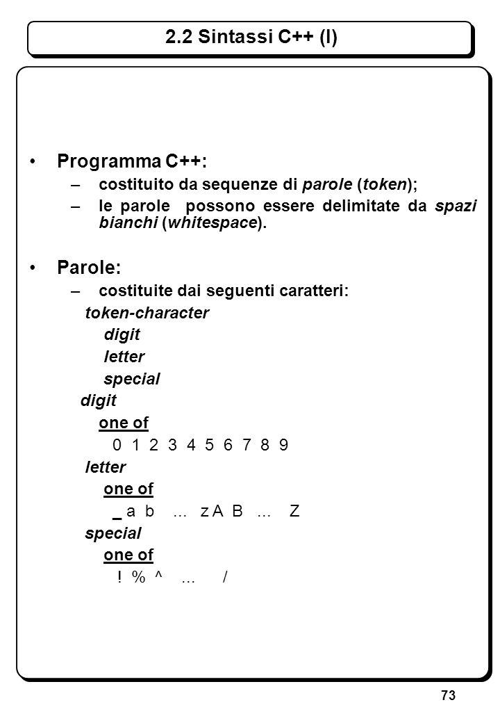 73 Programma C++: –costituito da sequenze di parole (token); –le parole possono essere delimitate da spazi bianchi (whitespace). Parole: –costituite d