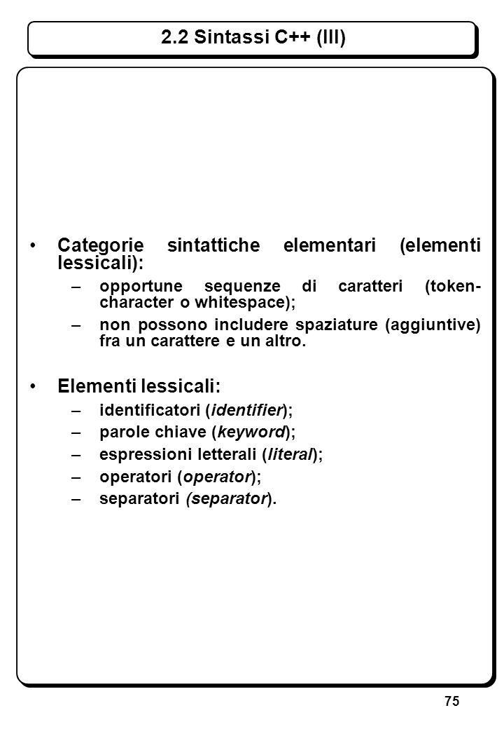 75 Categorie sintattiche elementari (elementi lessicali): –opportune sequenze di caratteri (token- character o whitespace); –non possono includere spa