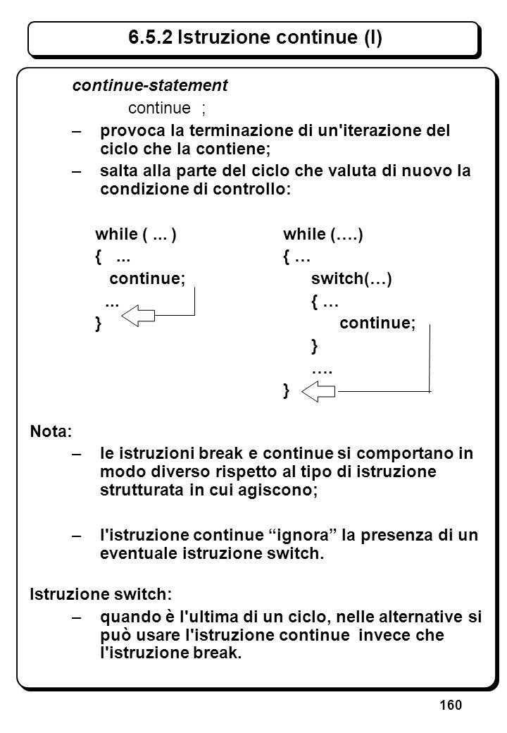 160 6.5.2 Istruzione continue (I) continue-statement continue ; –provoca la terminazione di un'iterazione del ciclo che la contiene; –salta alla parte