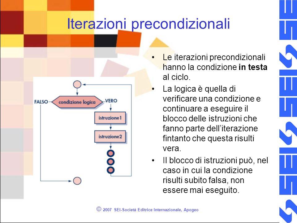 © 2007 SEI-Società Editrice Internazionale, Apogeo Iterazioni precondizionali Le iterazioni precondizionali hanno la condizione in testa al ciclo.