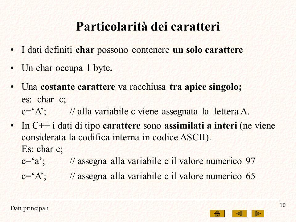Dati principali 10 I dati definiti char possono contenere un solo carattere Un char occupa 1 byte. Una costante carattere va racchiusa tra apice singo