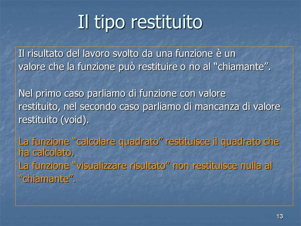 13 Il risultato del lavoro svolto da una funzione è un valore che la funzione può restituire o no al chiamante.