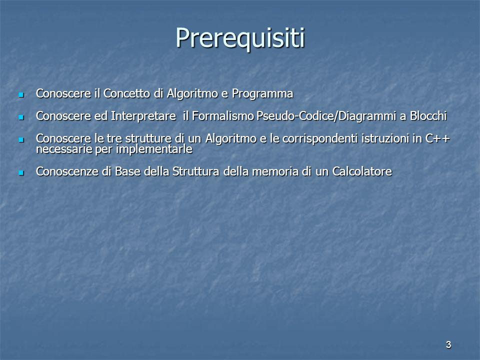 3 Prerequisiti Conoscere il Concetto di Algoritmo e Programma Conoscere il Concetto di Algoritmo e Programma Conoscere ed Interpretare il Formalismo P
