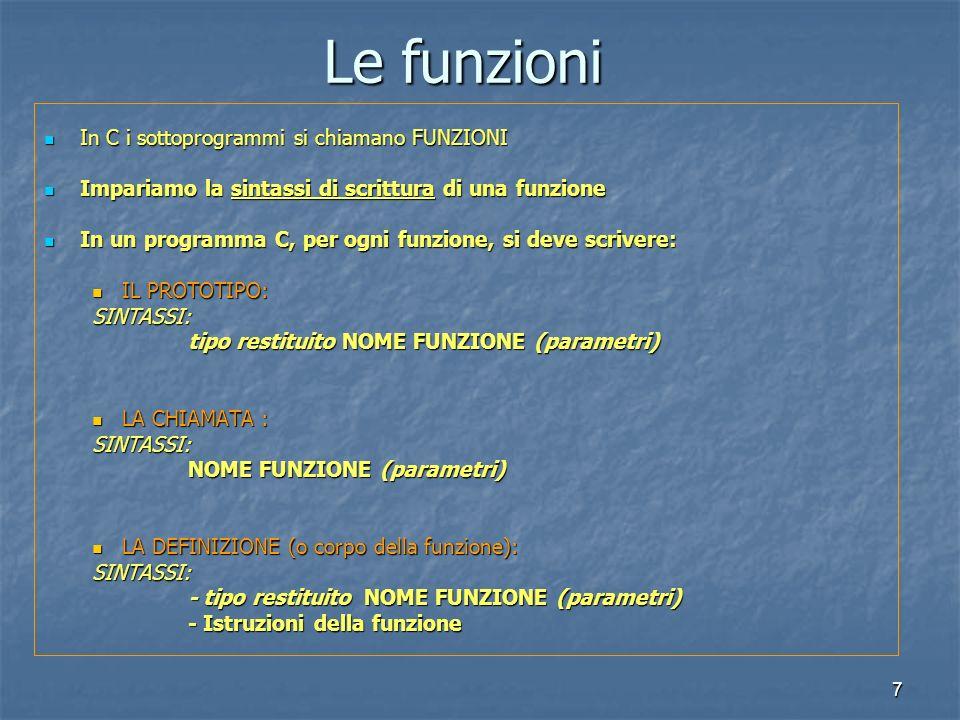 7 In C i sottoprogrammi si chiamano FUNZIONI In C i sottoprogrammi si chiamano FUNZIONI Impariamo la sintassi di scrittura di una funzione Impariamo la sintassi di scrittura di una funzione In un programma C, per ogni funzione, si deve scrivere: In un programma C, per ogni funzione, si deve scrivere: IL PROTOTIPO: IL PROTOTIPO:SINTASSI: tipo restituito NOME FUNZIONE (parametri) LA CHIAMATA : LA CHIAMATA :SINTASSI: NOME FUNZIONE (parametri) LA DEFINIZIONE (o corpo della funzione): LA DEFINIZIONE (o corpo della funzione):SINTASSI: - tipo restituito NOME FUNZIONE (parametri) - Istruzioni della funzione Le funzioni