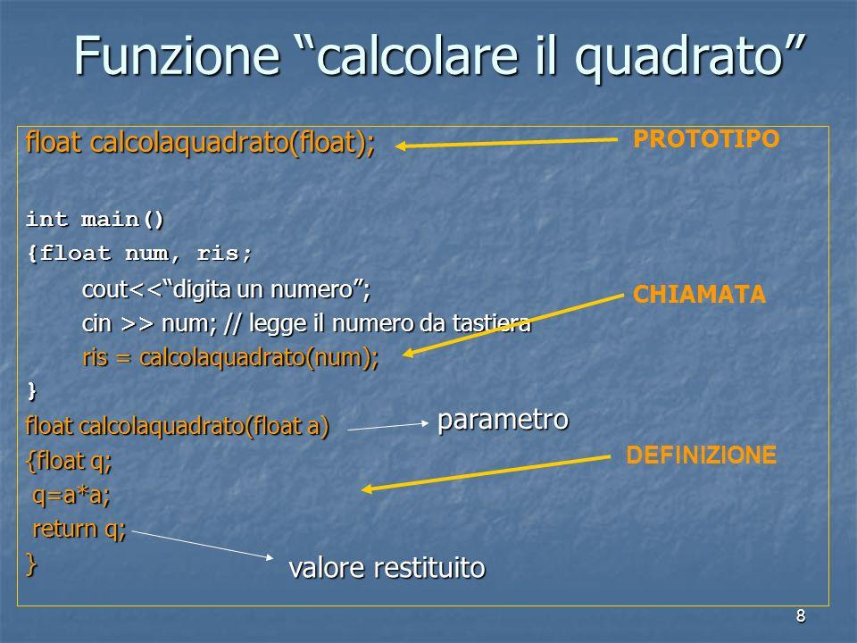 8 float calcolaquadrato(float); int main() {float num, ris; cout<<digita un numero; cout<<digita un numero; cin >> num; // legge il numero da tastiera cin >> num; // legge il numero da tastiera ris = calcolaquadrato(num); ris = calcolaquadrato(num);} float calcolaquadrato(float a) {float q; q=a*a; q=a*a; return q; return q;} PROTOTIPO CHIAMATA DEFINIZIONE Funzione calcolare il quadrato valore restituito parametro