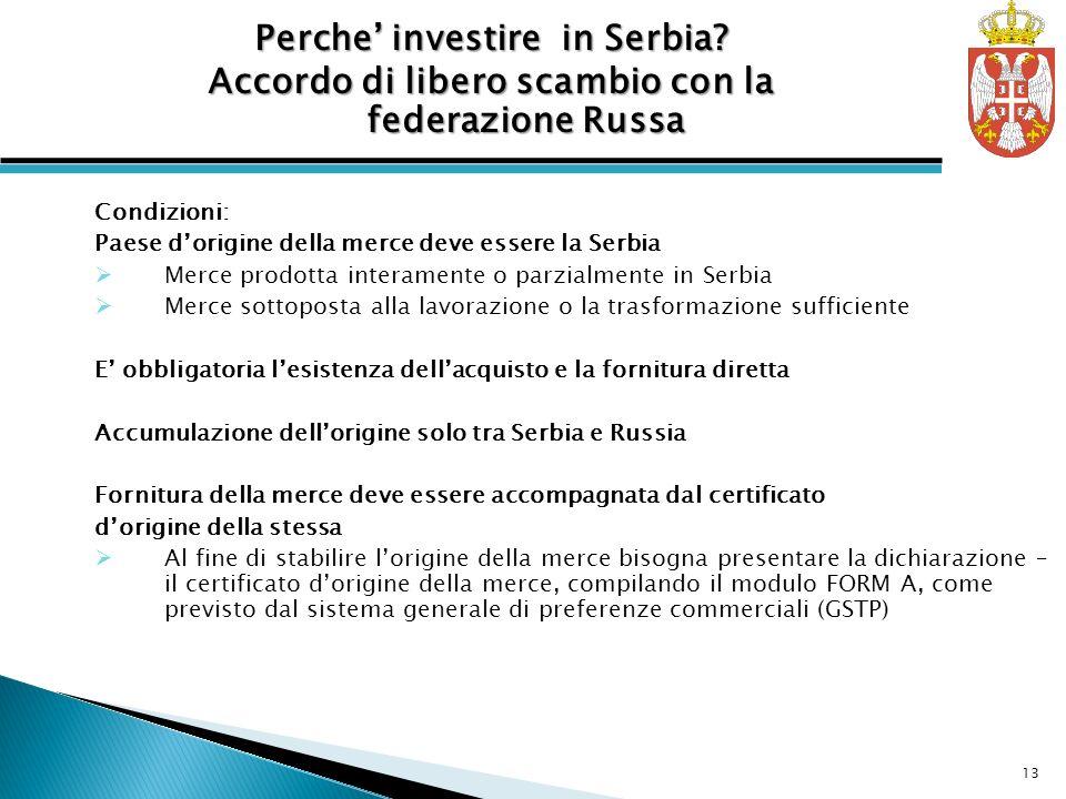 Condizioni: Paese dorigine della merce deve essere la Serbia Merce prodotta interamente o parzialmente in Serbia Merce sottoposta alla lavorazione o l