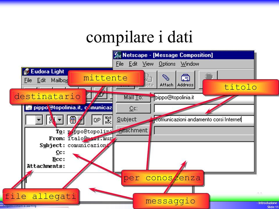 10 Progetto sistemi e-learning - Introduzione - Slide 10 Dati indispensabili nome dellutente nome del server mail password personale