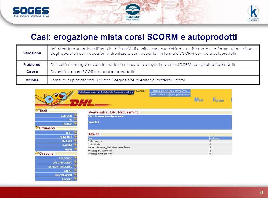 9 Casi: erogazione mista corsi SCORM e autoprodotti Situazione Unazienda operante nellambito dei servizi di corriere espresso richiede un sistema per