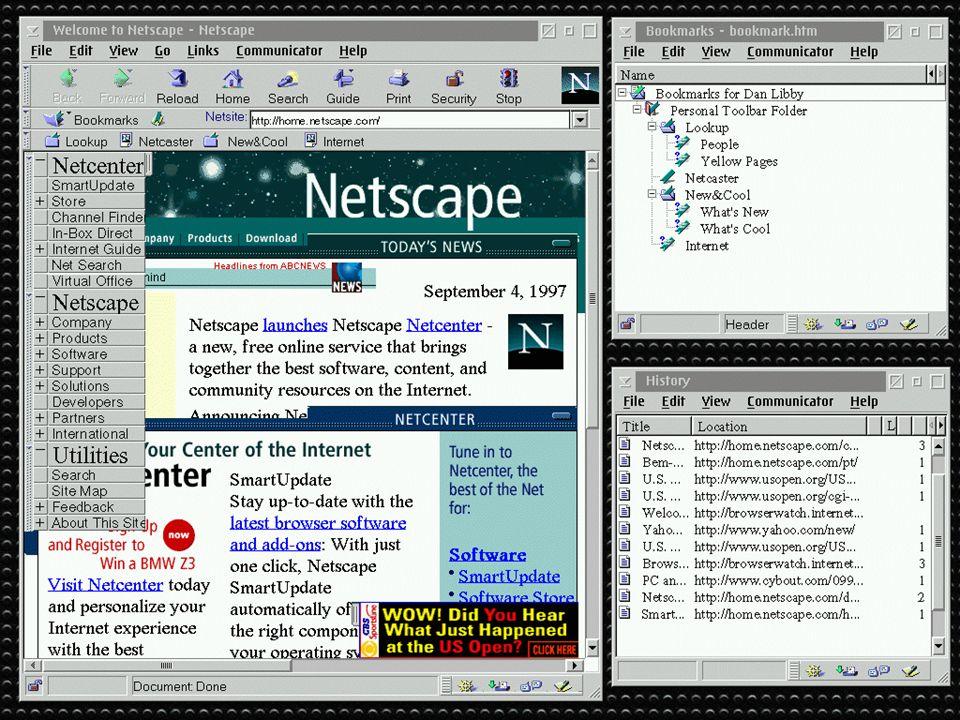 NETSCAPE Mark Anderseen fonda la Netscape Corporation con Jim Clark, fondatore nell82 di Silicon Graphics la società ha il più veloce sviluppo in borsa della storia