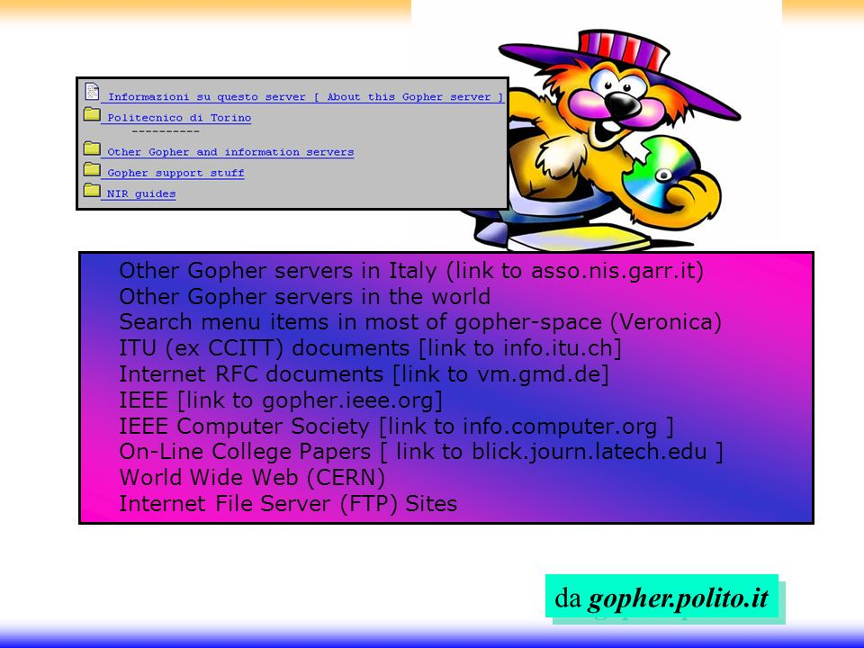 Other Gopher servers in Italy (link to asso.nis.garr.it) Other Gopher servers in the world Search menu items in most of gopher-space (Veronica) ITU (ex CCITT) documents [link to info.itu.ch] Internet RFC documents [link to vm.gmd.de] IEEE [link to gopher.ieee.org] IEEE Computer Society [link to info.computer.org ] On-Line College Papers [ link to blick.journ.latech.edu ] World Wide Web (CERN) Internet File Server (FTP) Sites da gopher.polito.it