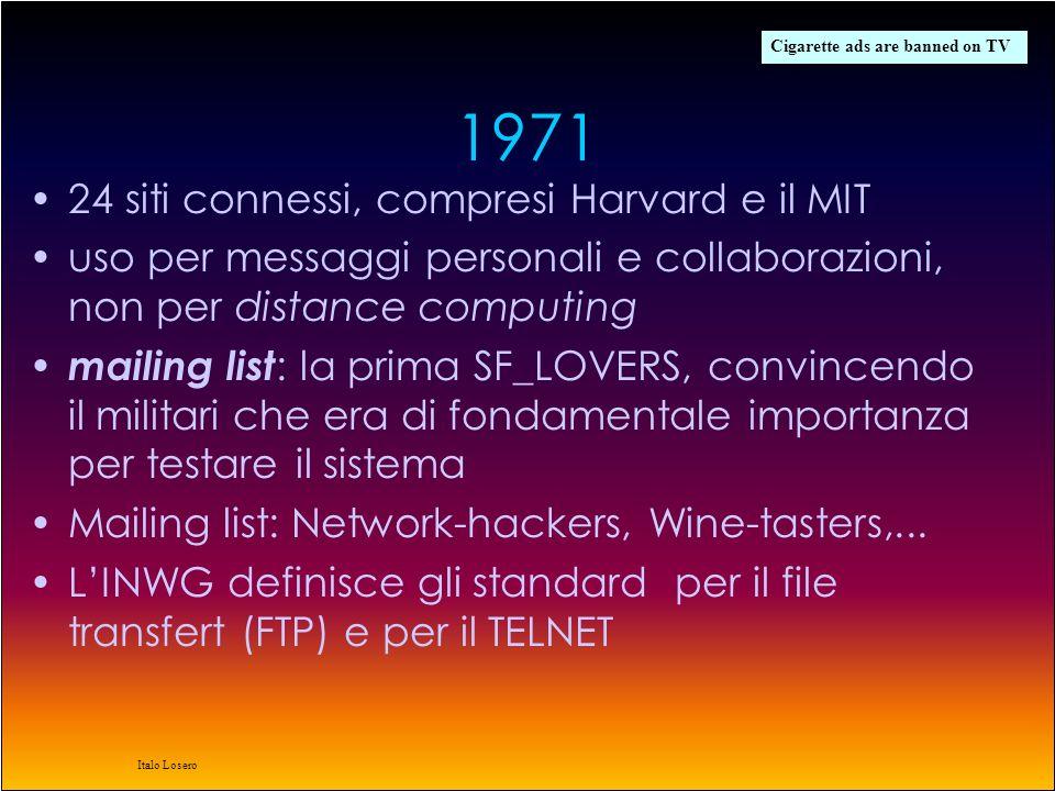 Italo Losero lidea si fa strada gli anni 70 vedono una forte espansione dellARPAnet, vista la facilità con la quale possono aggiungersi nuovi hosts in questo periodo dal TCP si passa al TCP/IP –TCP: frammentazione del messaggio in pacchetti –IP: instradamento migliaia di ricercatori vengono coinvolti nello sviluppo