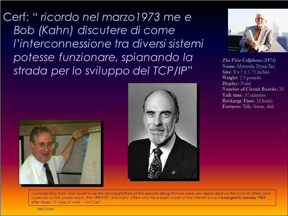 Italo Losero 1973 Connessione ad ARPAnet di Inghilterra e Norvegia Si comincia a parlare di connessione di pacchetti provenienti da diversi sistemi Bob Metcalfe nella sua tesi di laurea getta le basi dellethernet.