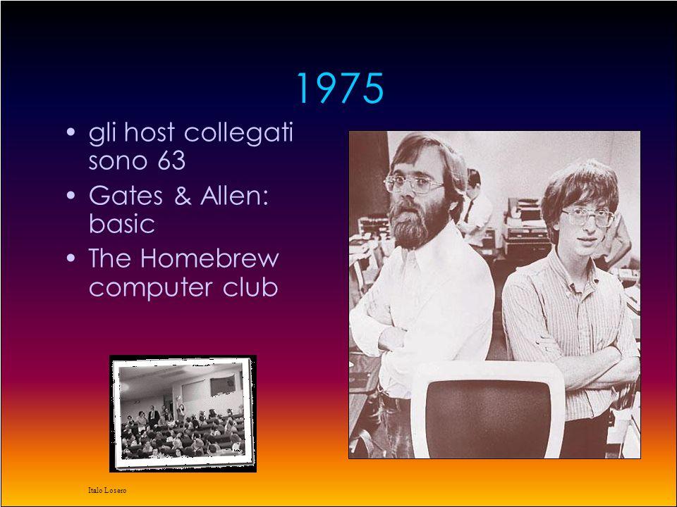 Italo Losero 1975 gli host collegati sono 63 Gates & Allen: basic The Homebrew computer club