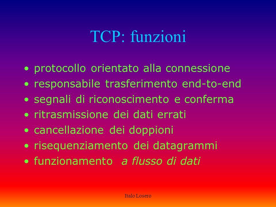 Italo Losero TCP: comunicazioni dirette llc ip llc ip llc ip llc ip tcp ulp appl.
