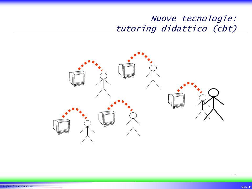 11 Progetto formazione - Aosta Slide 11 Nuove tecnologie: tutoring didattico (cbt)