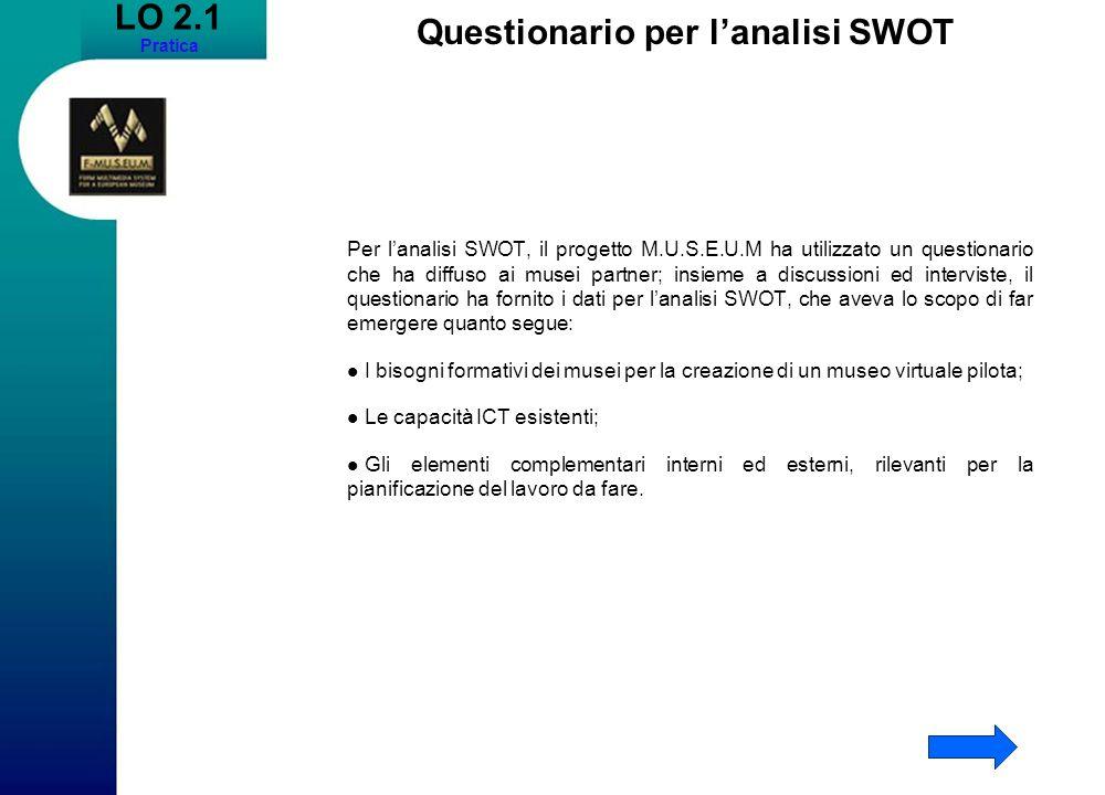 LO 2.1 Pratica Questionario per lanalisi SWOT Per lanalisi SWOT, il progetto M.U.S.E.U.M ha utilizzato un questionario che ha diffuso ai musei partner