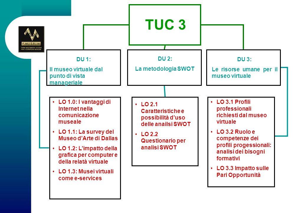 DU 2 Metodologia SWOT Le analisi SWOT sono un modello utilizzato per conseguire un risultato particolare (in questo caso il Museo Virtuale Europeo), dunque le SWOT sono fondamentali quando occorre prendere delle decisioni.