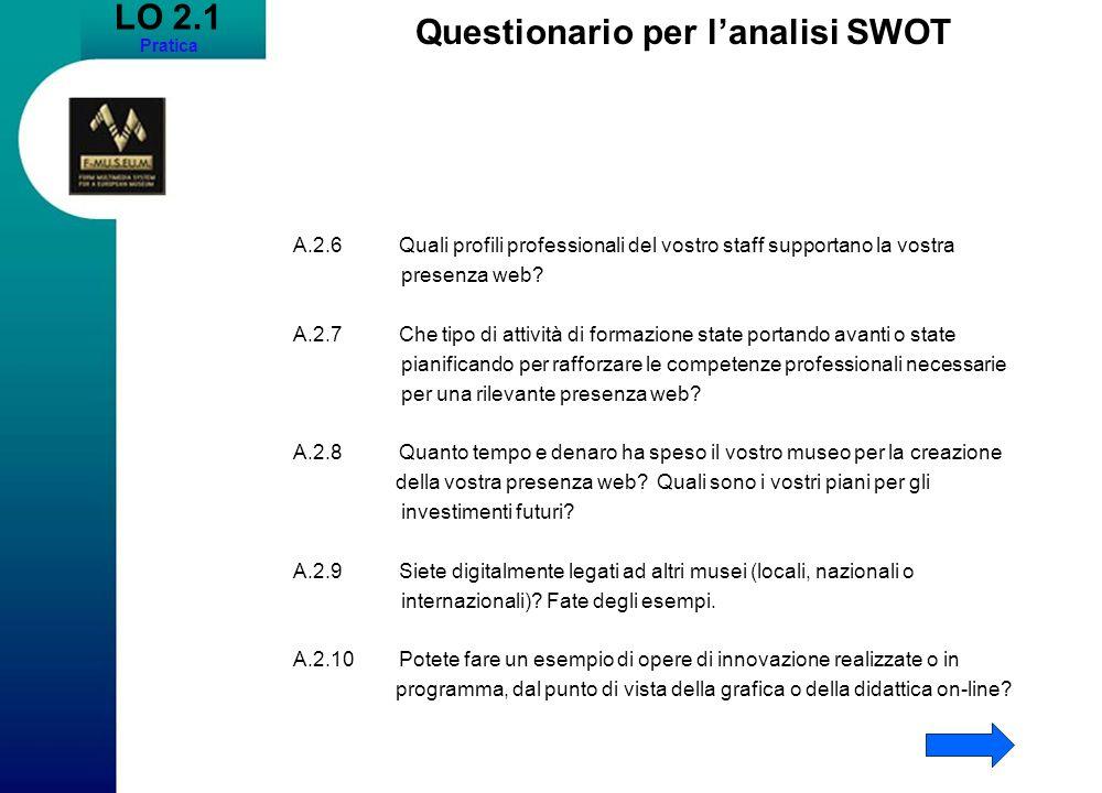 LO 2.1 Pratica Questionario per lanalisi SWOT A.2.6Quali profili professionali del vostro staff supportano la vostra presenza web? A.2.7Che tipo di at