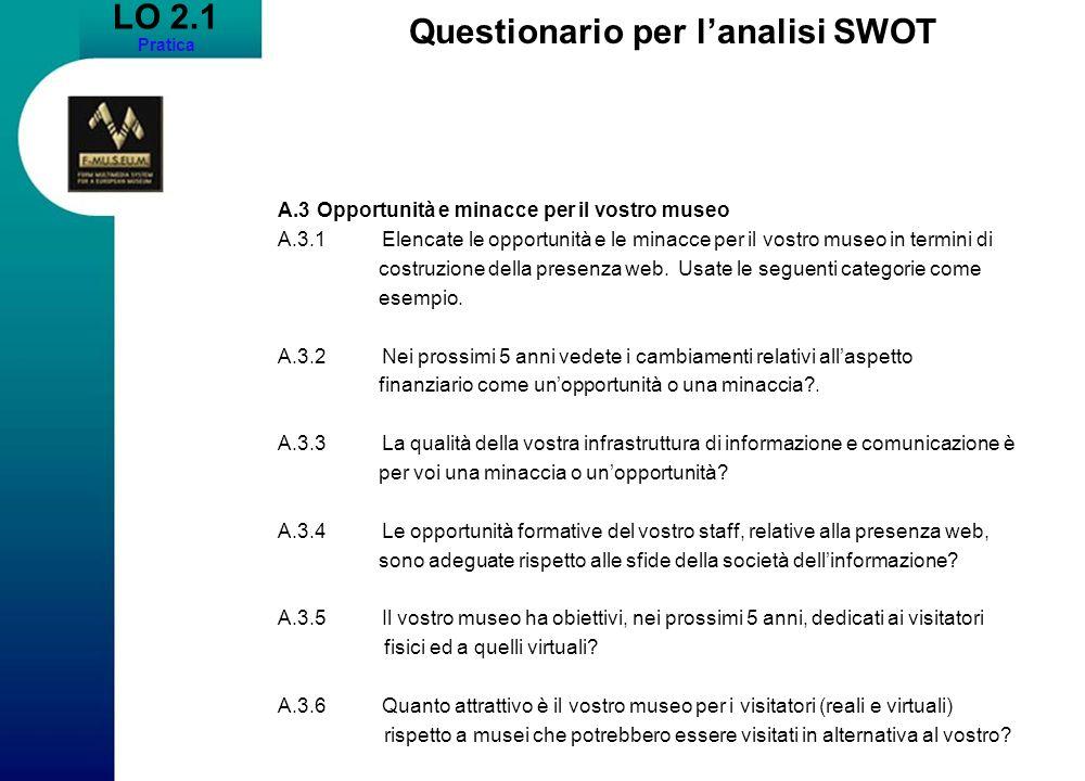 LO 2.1 Pratica Questionario per lanalisi SWOT A.3Opportunità e minacce per il vostro museo A.3.1Elencate le opportunità e le minacce per il vostro mus